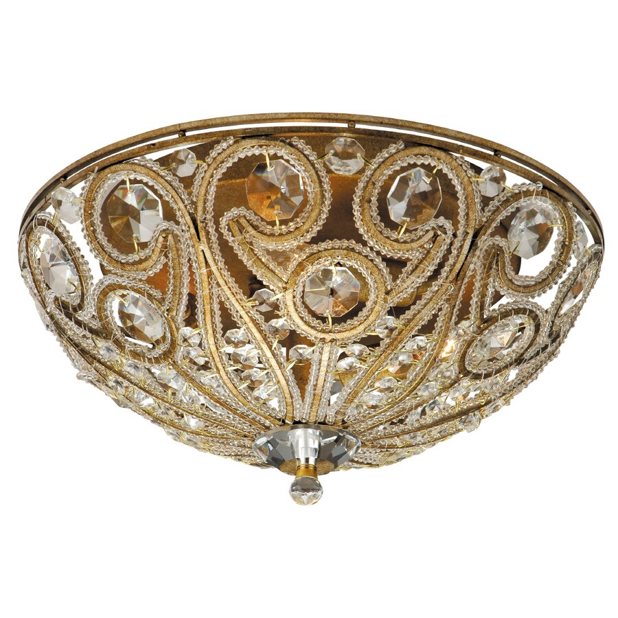 Portfolio 13-in W Antique Gold Crystal Accent Ceiling Flush Mount Light