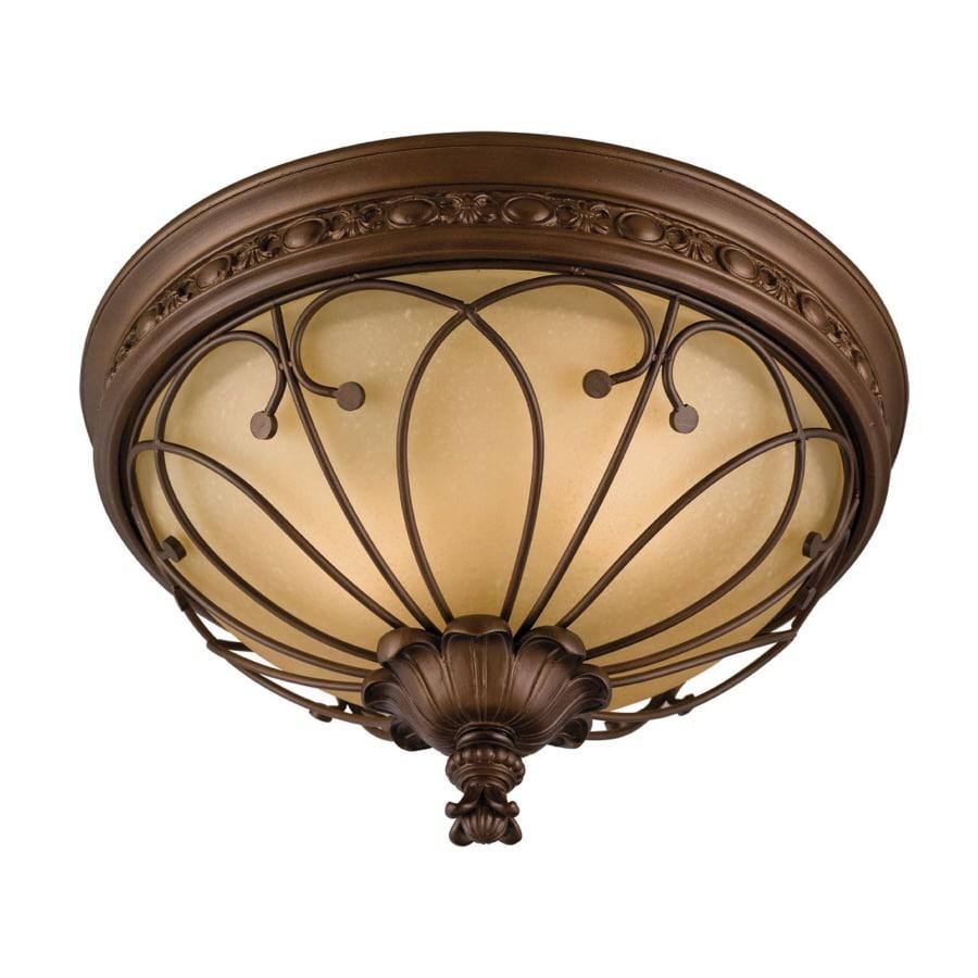 allen + roth 16-in W Antique Bronze Ceiling Flush Mount Light