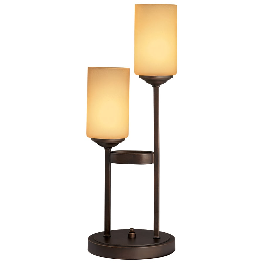 allen + roth 22-1/2-in Oil Rubbed Bronze Indoor Table Lamp with Glass Shade