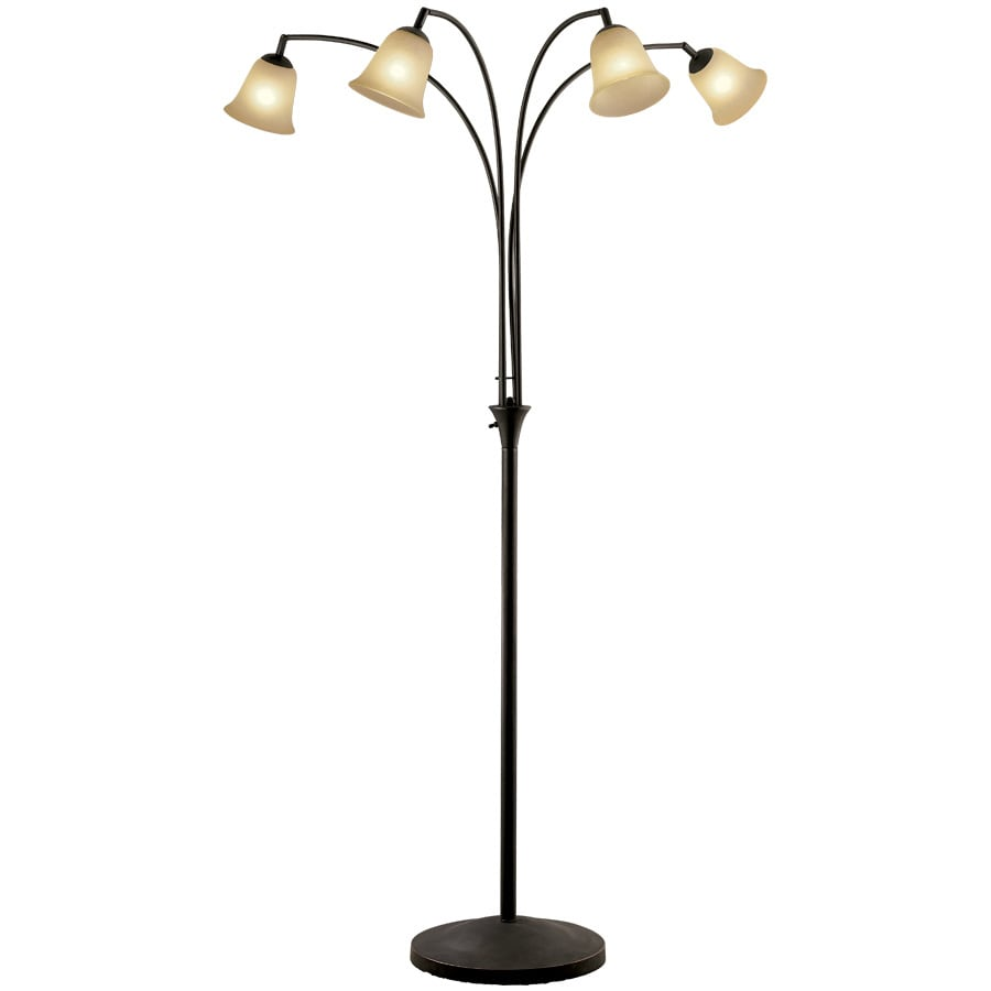Portfolio 72-in 3-Way Switch Indian Bronze Indoor Floor Lamp with Glass Shade