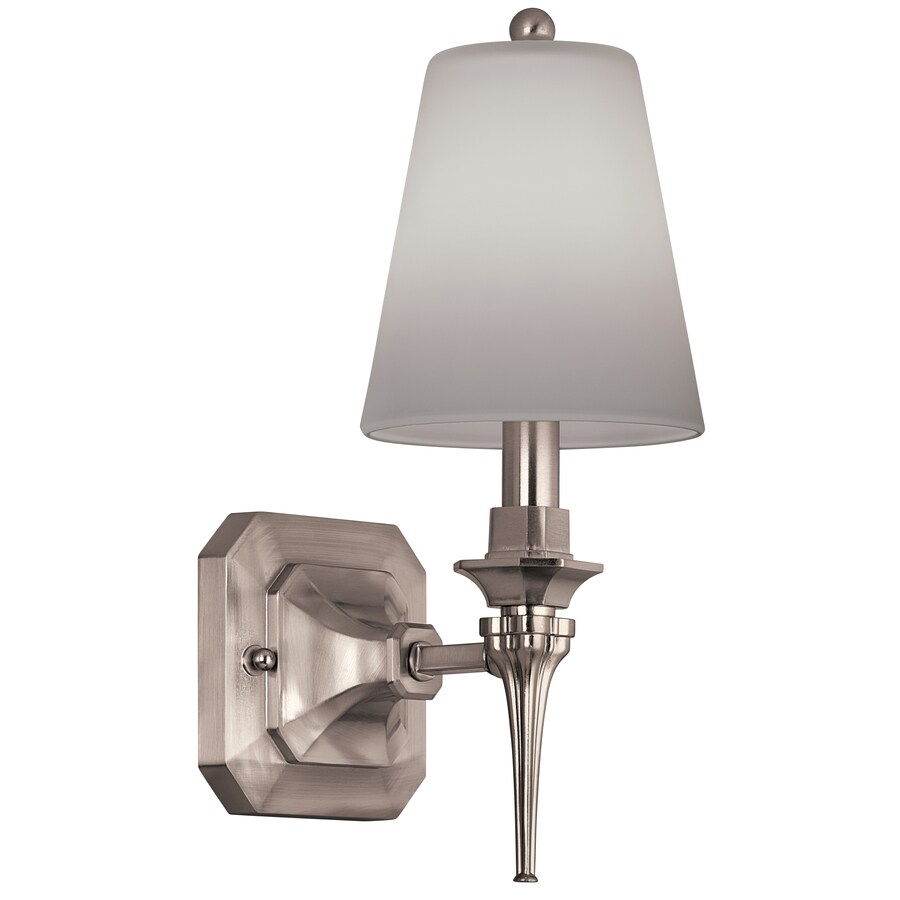 Portfolio 5-in W 1-Light Brushed Nickel Arm Wall Sconce