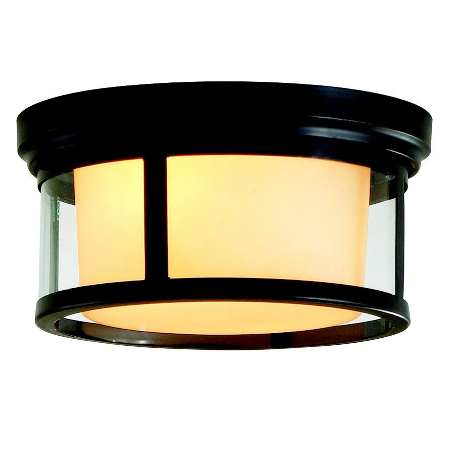allen + roth 13.25-in W Dark Oil Rubbed Bronze Ceiling Flush Mount