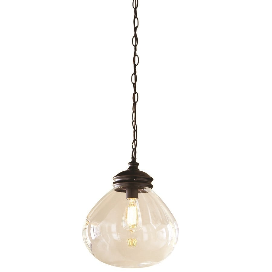 allen + roth Bristow 12-in W Bronze Standard Pendant Light with Clear Shade