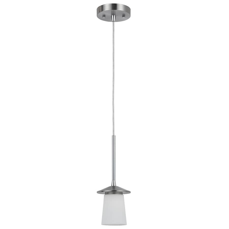 Bel Air Lighting 4.75-in W Brushed Nickel LED Mini Pendant Light with White Shade