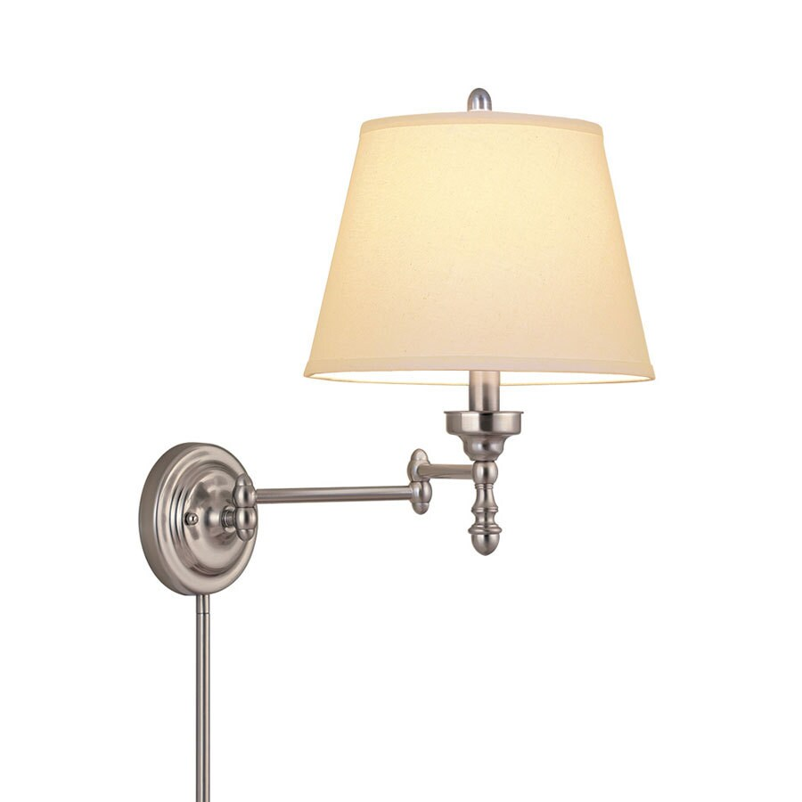 allen + roth 15.62-in H Brushed Nickel Swing-Arm Wall-Mounted Lamp with Fabric Shade