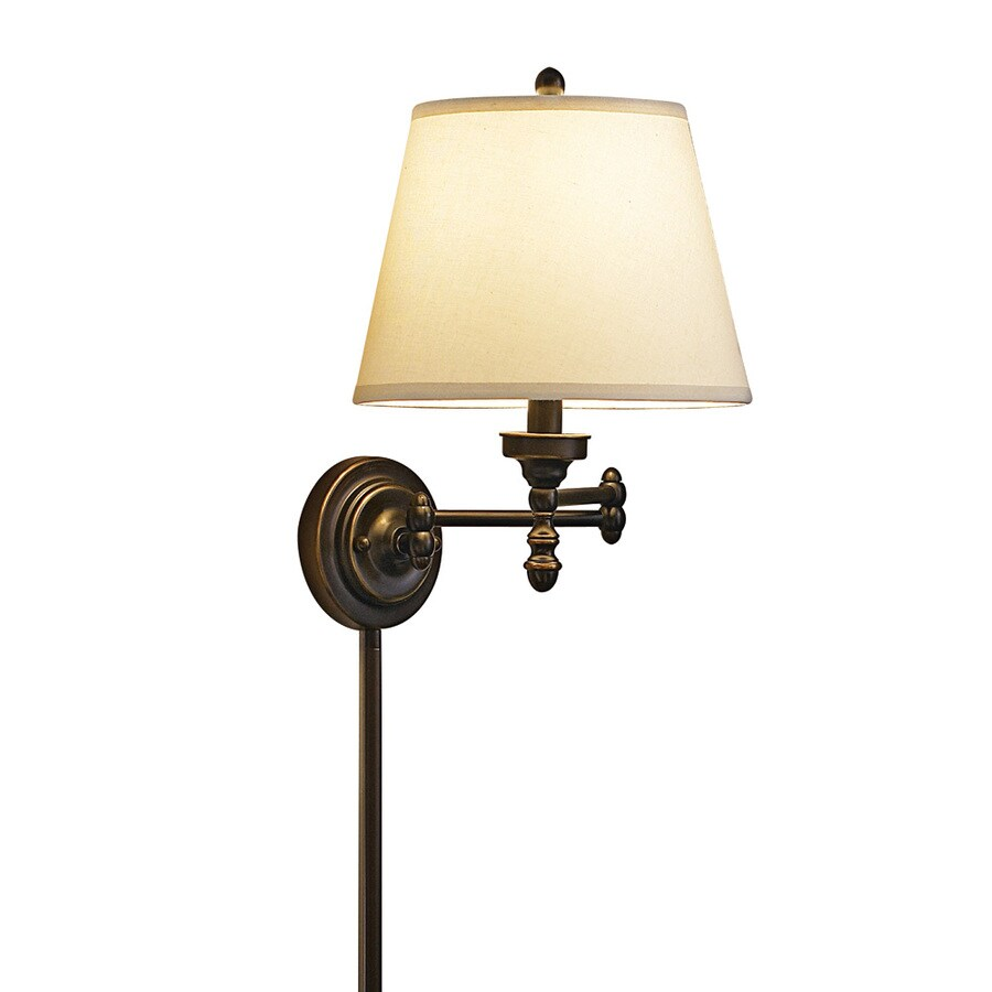 allen + roth 15.62-in H Oil-Rubbed Bronze Swing-Arm Wall-Mounted Lamp with Fabric Shade