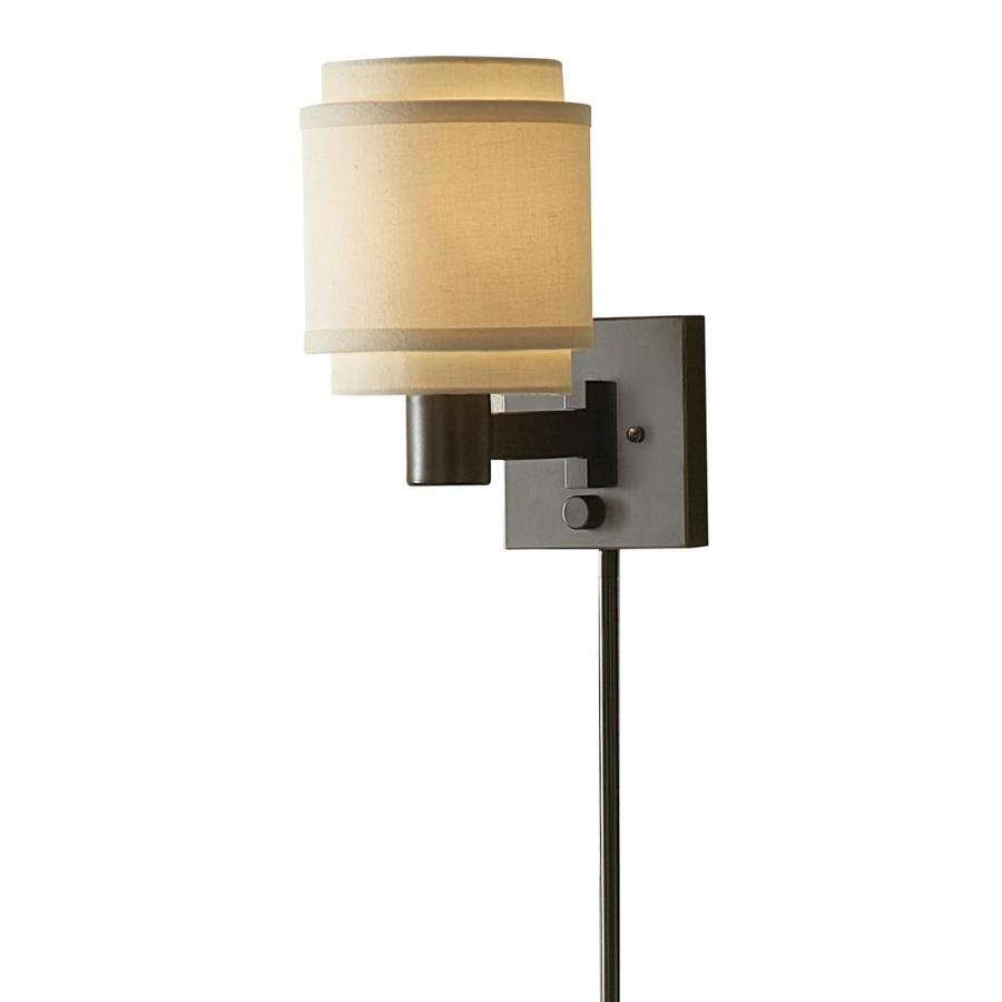allen + roth 10.12-in H Oil-Rubbed Bronze Swing-Arm Wall-Mounted Lamp with Fabric Shade