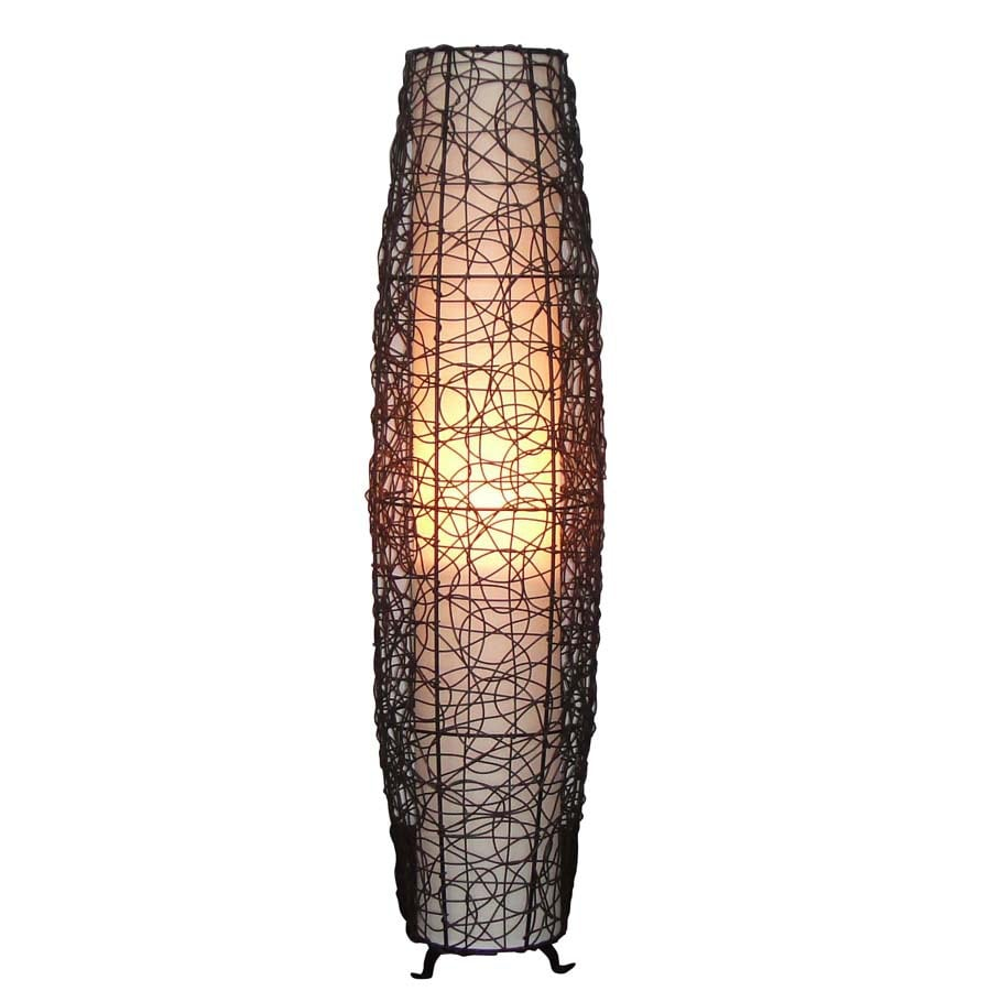 "allen + roth 46"" Outdoor Floor Lamp with Cream Shade"