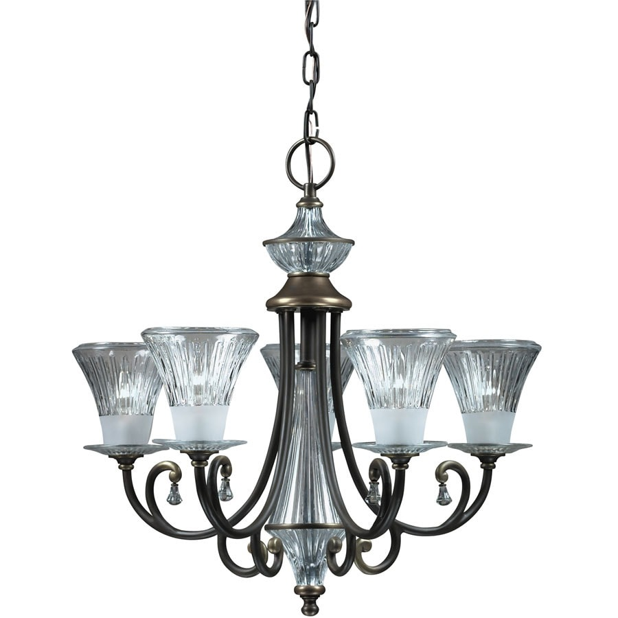Portfolio Windham 25-in 5-Light Olde Bronze Standard Chandelier