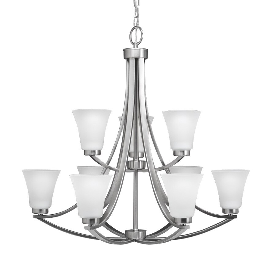 Portfolio Lyndsay 30-in 9-Light Satin Nickel Etched Glass Shaded Chandelier
