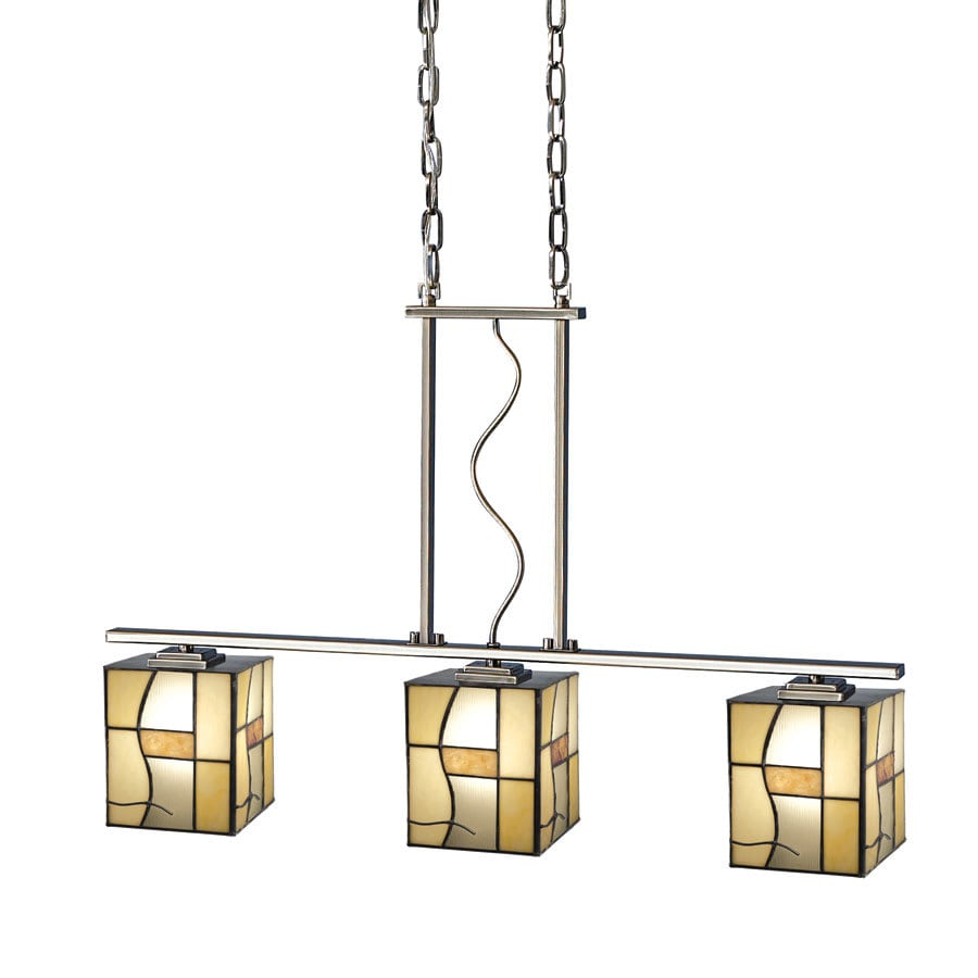 allen + roth 32-in W 3-Light Antique Pewter Kitchen Island Light with Tiffany-Style Shade