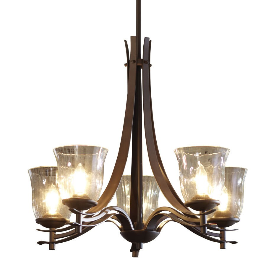 allen + roth 24.5-in 5-Light Olde Bronze Clear Glass Standard Chandelier