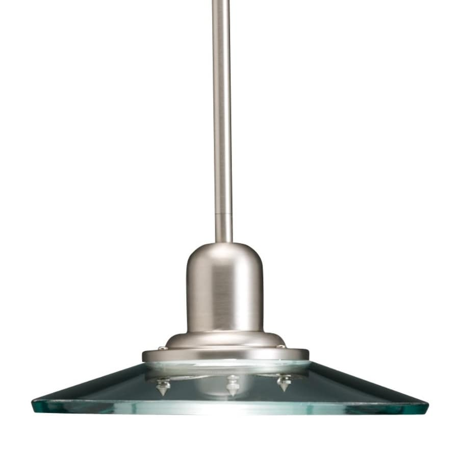 allen + roth Galileo 10-in Brushed Nickel Industrial Mini Clear Glass Cone Pendant