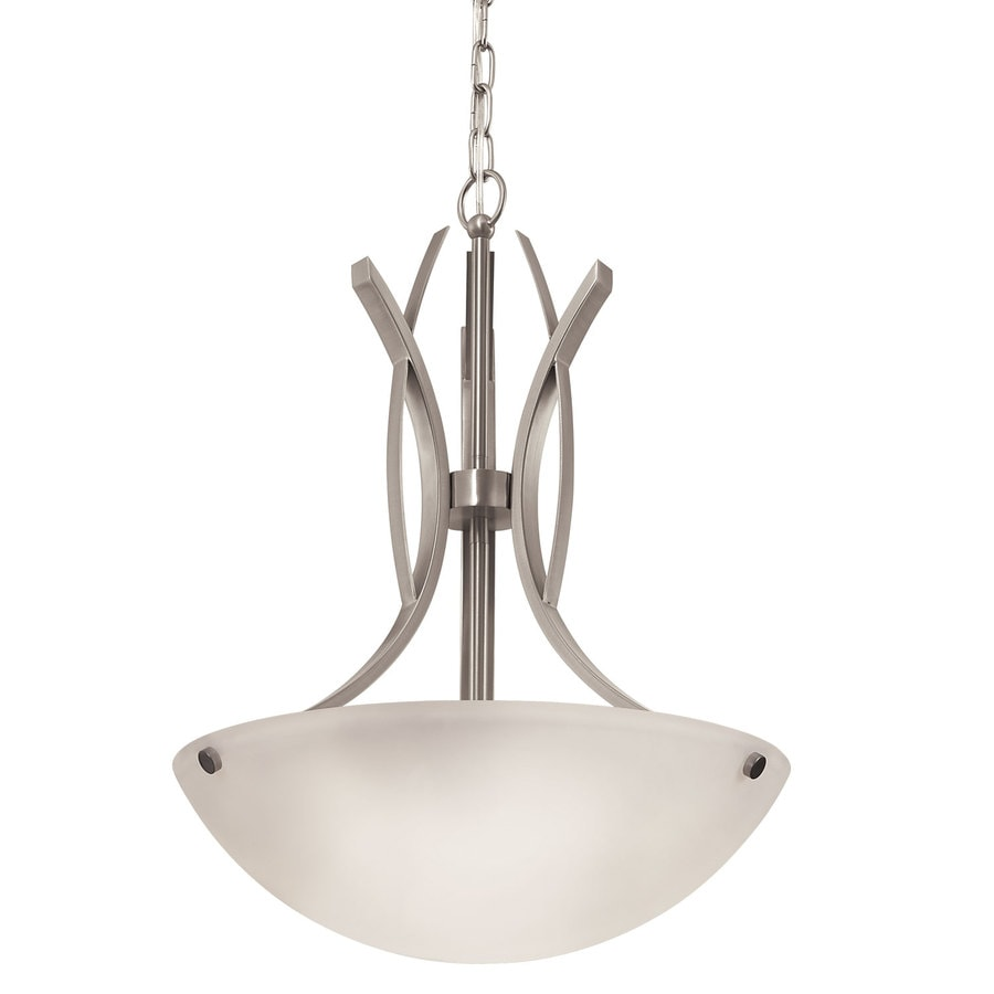 Portfolio Lebach 17-in W Brushed Nickel Pendant Light with Frosted Glass Shade
