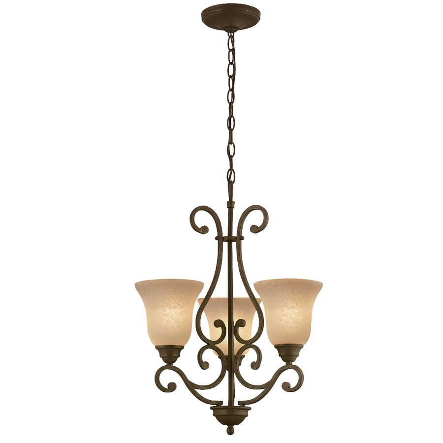 Portfolio Linkhorn 20-in 3-Light Iron Stone Wrought Iron Tinted Glass Shaded Chandelier