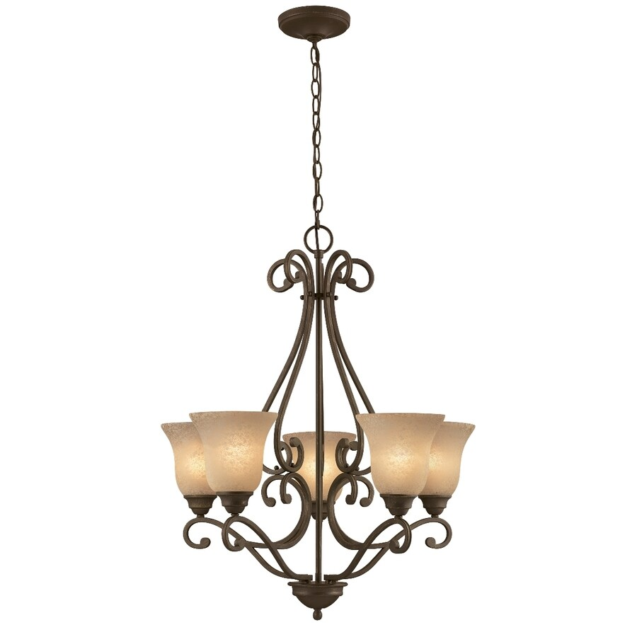 Portfolio Linkhorn 27-in 5-Light Iron Stone Wrought Iron Tinted Glass Shaded Chandelier