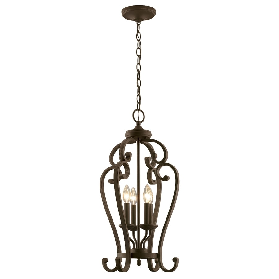 Portfolio Linkhorn 15-in Aged Bronze Wrought Iron Single Cage Pendant
