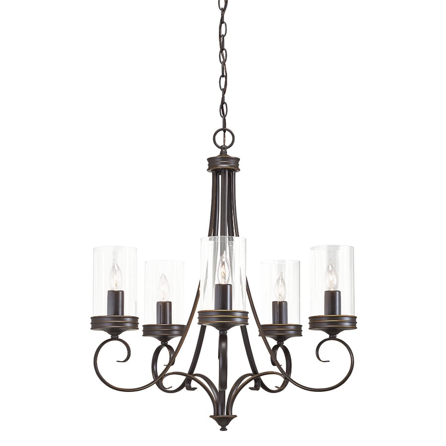 Kichler Lighting Diana 25-in 5-Light Olde Bronze Williamsburg Clear Glass Candle Chandelier