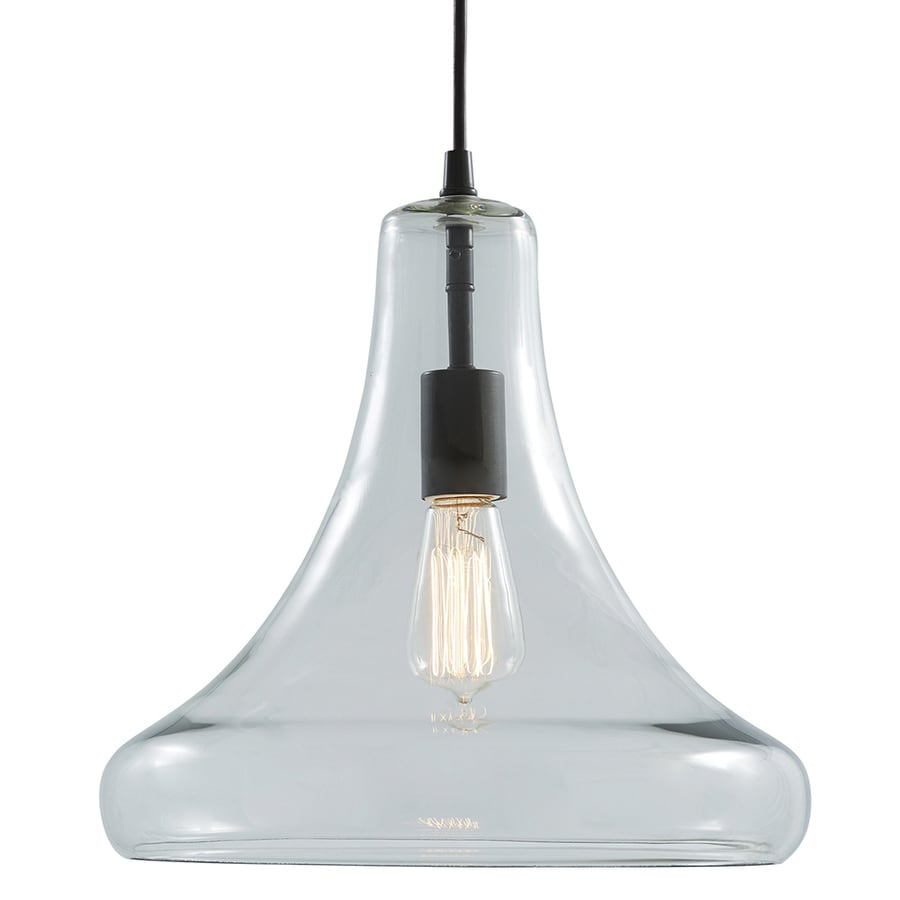 allen + roth 12.99-in Aged Bronze Vintage Single Clear Glass Bell Pendant