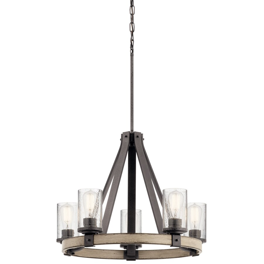 Kichler Lighting Barrington 24.02-in 5-Light Anvil Iron and Driftwood Rustic Clear Glass Candle Chandelier