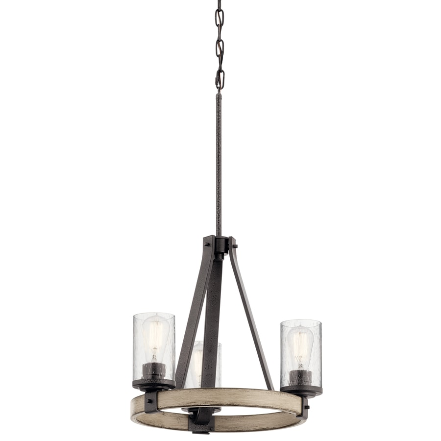 Kichler Lighting Barrington 17.99-in 3-Light Anvil Iron and Driftwood Rustic Clear Glass Candle Chandelier