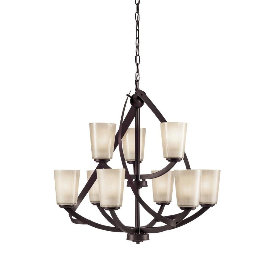 Shop Kichler Lighting Layla 9 Light Olde Bronze Rustic Etched Glass