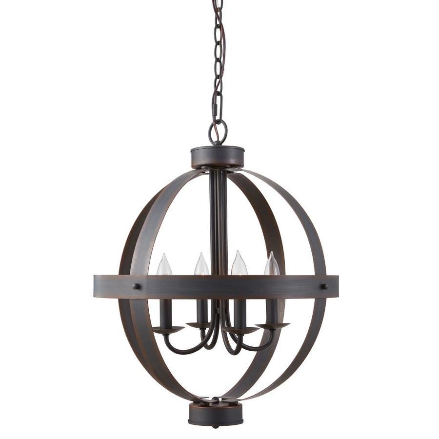allen + roth Crossburg 17.72-in Oil Rubbed Bronze Industrial Single Orb Pendant