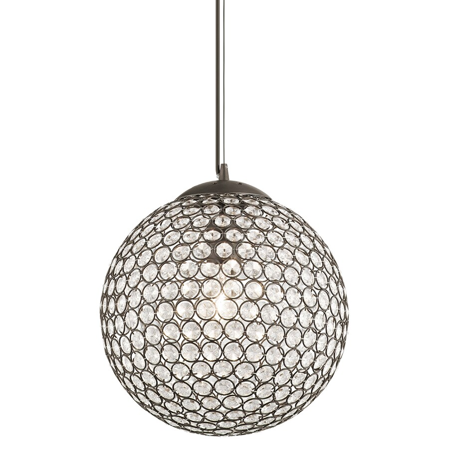 Kichler Lighting Krystal Ice 11.81-in Olde Bronze Crystal Single Crystal Orb Pendant