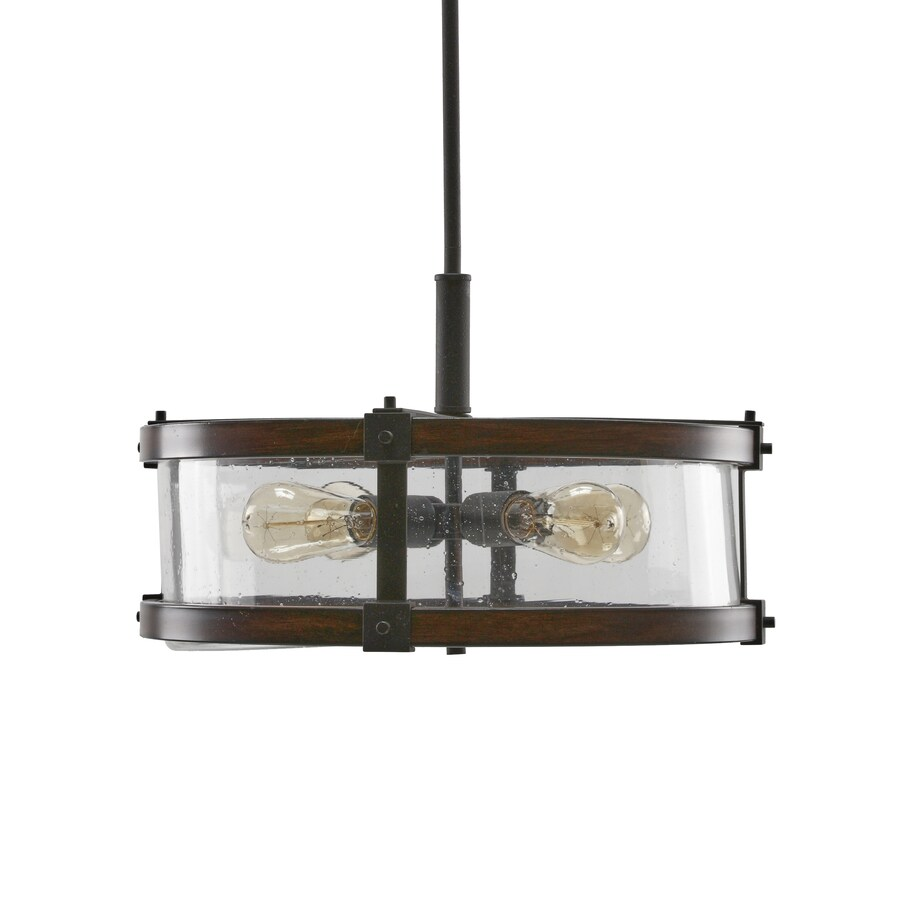 Shop Kichler Lighting Barrington 18-in Distressed Black and Wood Rustic Single Seeded Glass Drum ...