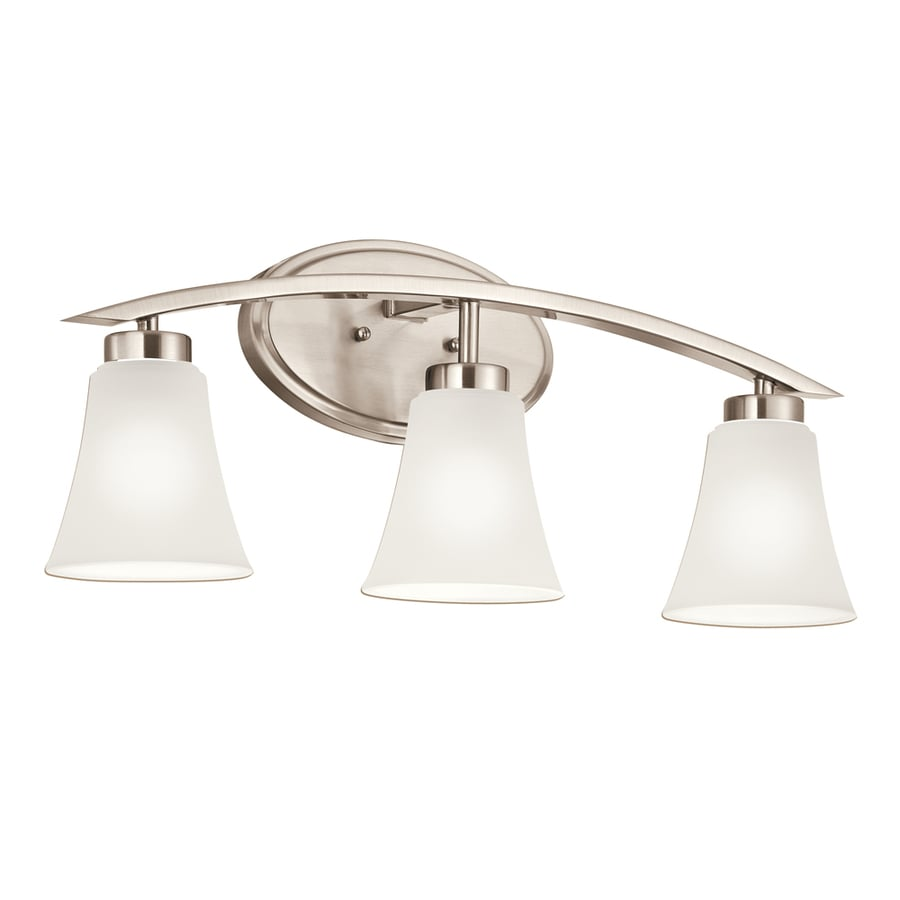 Bathroom Vanity Lights Pictures : Shop Portfolio Lyndsay 3-Light Brushed Nickel Bell Vanity Light Bar at Lowes.com