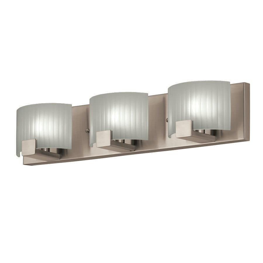 Lowes Vanity Lights For Bathroom : Shop Portfolio 3-Light Brushed Nickel Rectangle Vanity Light Bar at Lowes.com