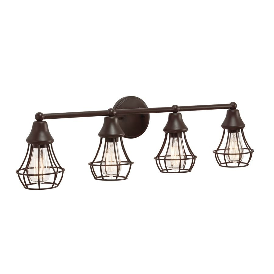 shop kichler lighting bayley 4 light olde bronze cage vanity light at