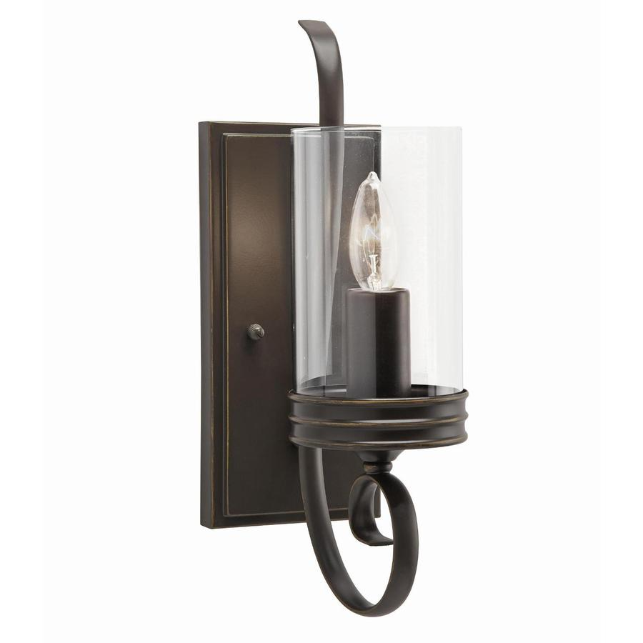 Wall Sconces For Bathroom : Shop Kichler Lighting Diana 4.72-in W 1-Light Olde Bronze Arm Wall Sconce at Lowes.com