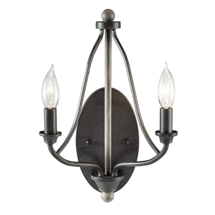 Kichler Lighting Carlotta 9.25-in W 2-Light Anvil Iron and Driftwood Vintage Candle Wall Sconce