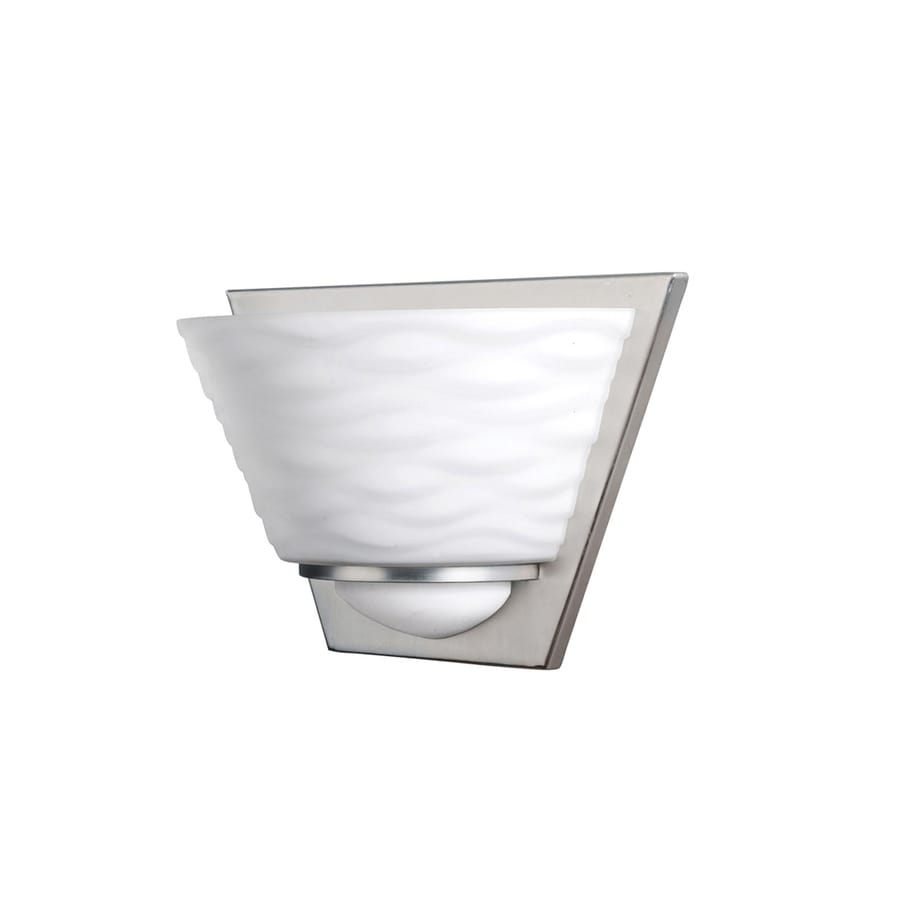 Portfolio Wall Sconce Brushed Nickel : Shop Portfolio Daphne 9.74-in W 1-Light Brushed Nickel Pocket Hardwired Wall Sconce at Lowes.com