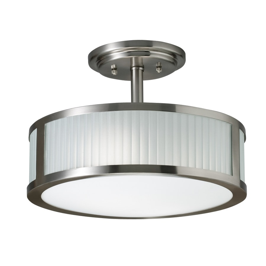 allen + roth 13-in W Brushed Nickel Frosted Glass Semi-Flush Mount Light