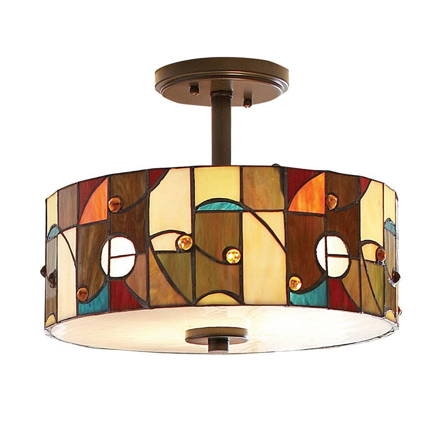 allen + roth Drakeston 13-in W Mission Bronze Opalescent Glass Tiffany-Style Semi-Flush Mount Light
