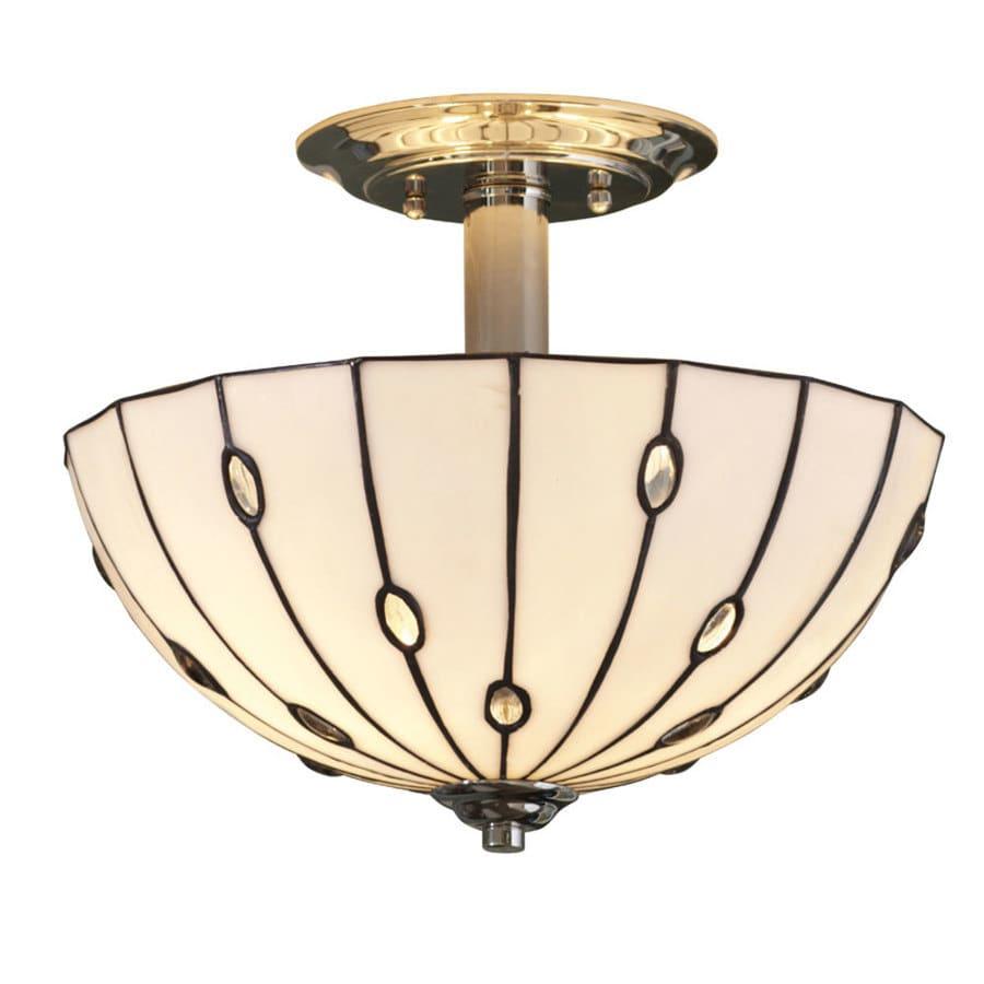 allen + roth Cloudburst 13-in W Polished Nickel Textured Tiffany-Style Semi-Flush Mount Light