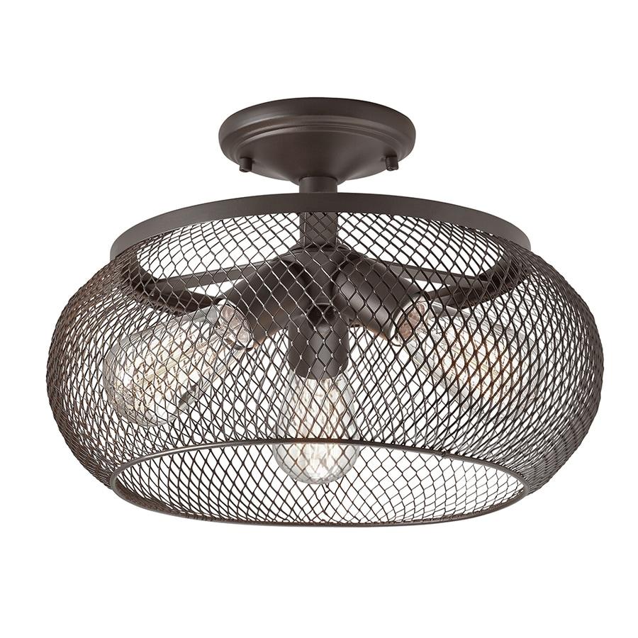 Kichler Lighting 14.02-in W Olde Bronze Metal Semi-Flush Mount Light