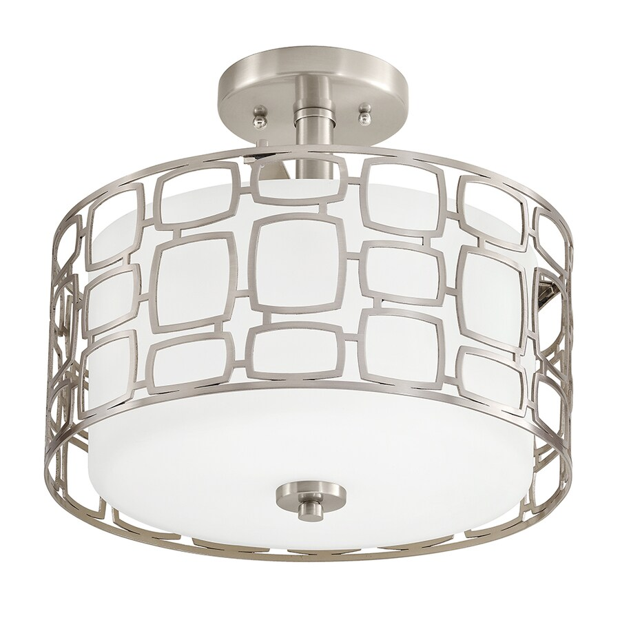 Kichler Lighting Sabine 12.99-in W Brushed Nickel Frosted Glass Semi-Flush Mount Light