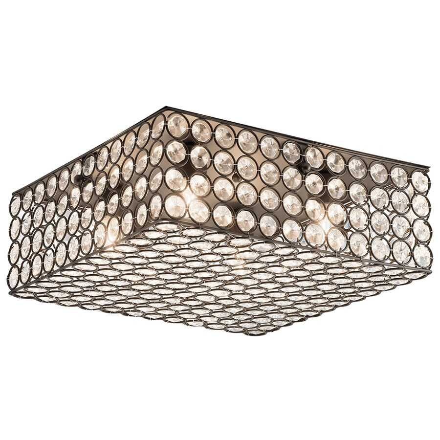 Kichler Lighting Krystal Ice 11.81-in W Olde Bronze Crystal Accent Ceiling Flush Mount Light