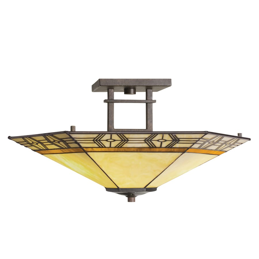 Portfolio Indio 20-in W Olde Bronze Textured Art Glass Semi-Flush Mount Light
