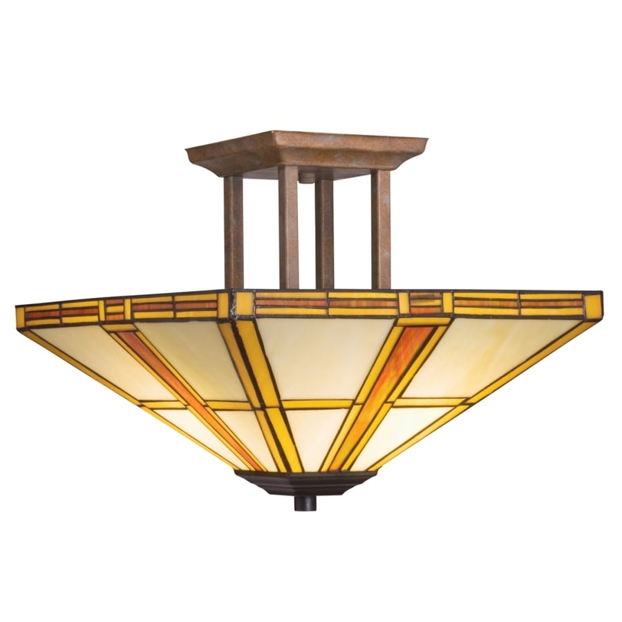 Portfolio 14-in W Patina Bronze and Dore Bronze Opalescent Glass Art Glass Semi-Flush Mount Light