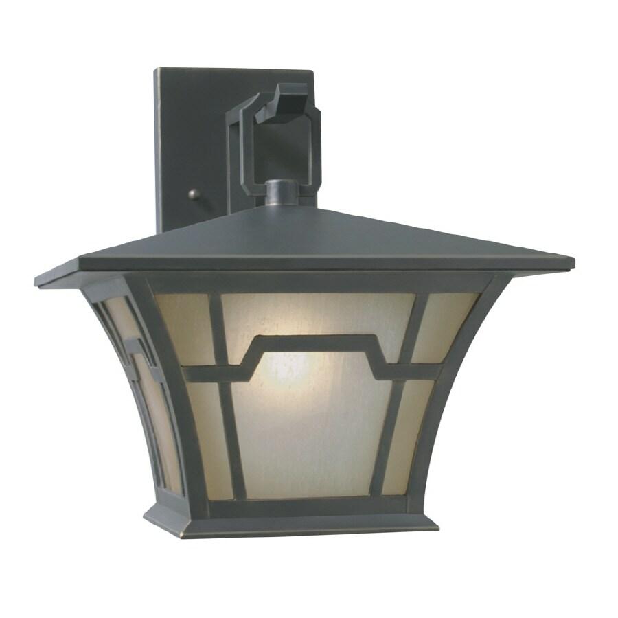shop portfolio h saddle bronze outdoor wall light at. Black Bedroom Furniture Sets. Home Design Ideas