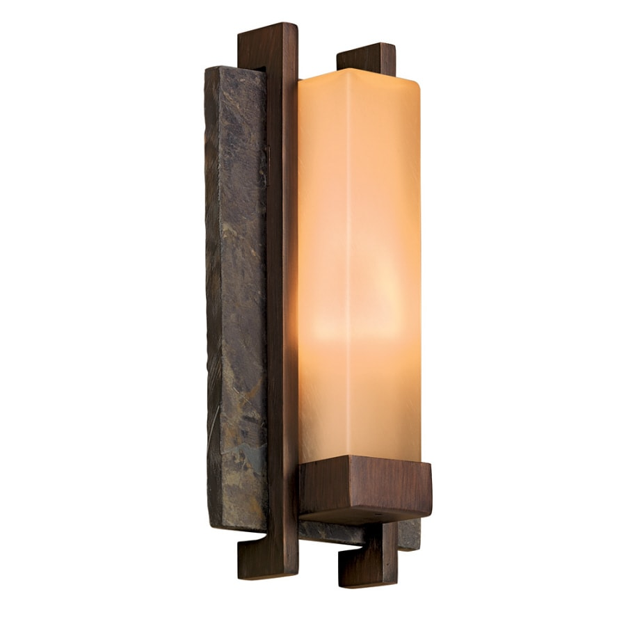allen + roth Vickery 14-in H Slate and Bronze Outdoor Wall Light