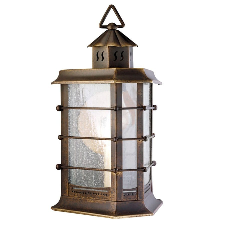 shop portfolio 12 in h distressed brass outdoor wall light at lowes