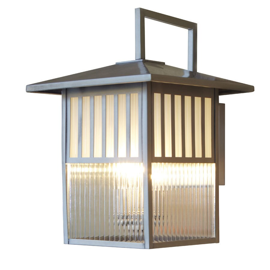 allen + roth Lancetti 16-1/8-in Brushed Nickel Outdoor Wall Light