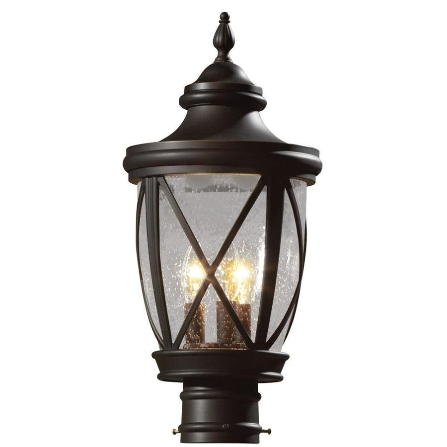 shop allen roth castine 19 5 in h rubbed bronze post light at lowes. Black Bedroom Furniture Sets. Home Design Ideas