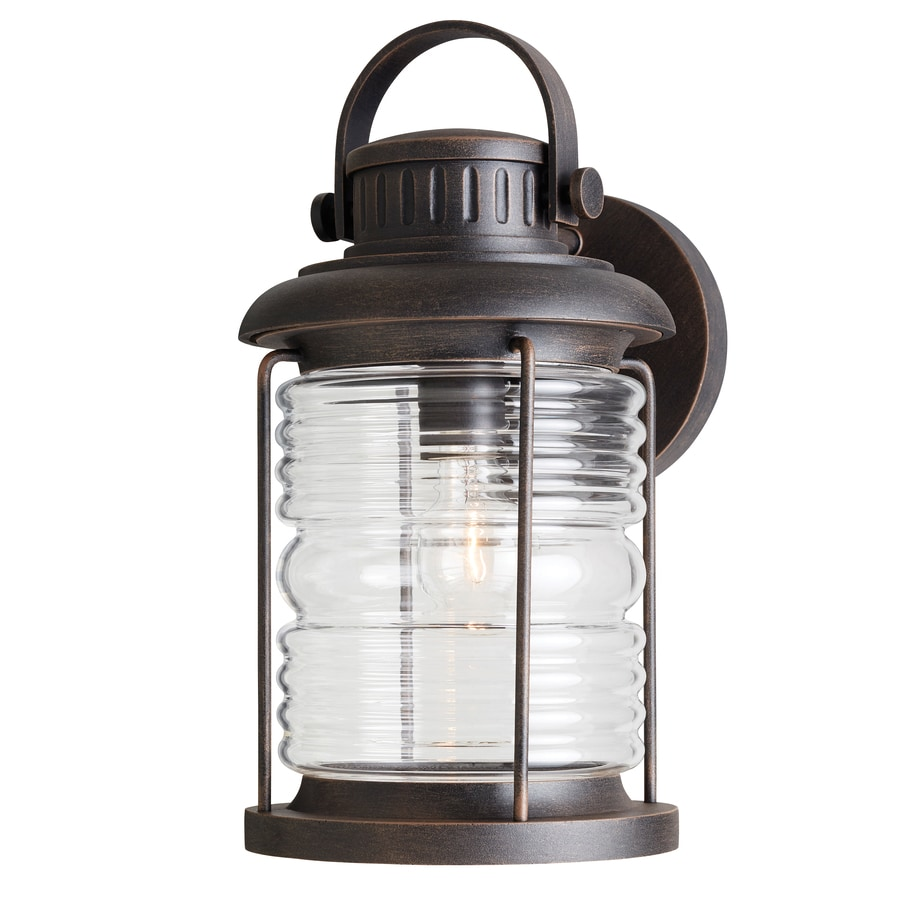 Shop allen roth stonecroft h rust outdoor wall for Exterior lamps