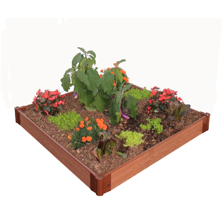 Bonnie 48-in W x 48-in L x 6-in H Brown Composite Timbers and Joints Plastic Raised Garden Bed